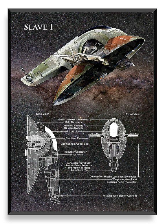 Esclavo I nave de Star Wars Star Wars por PatentPrintsPosters