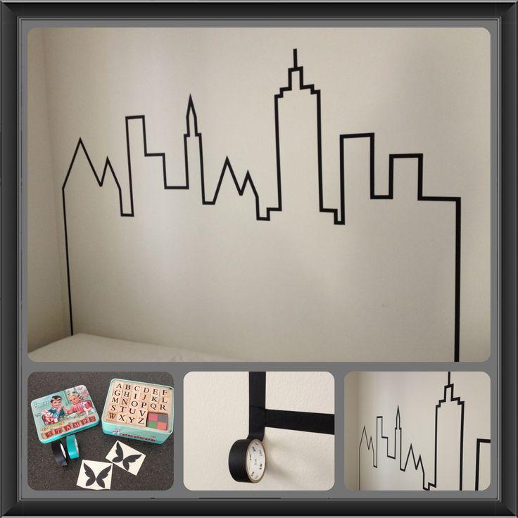id e t te de lit en masking tape skyline pinterest. Black Bedroom Furniture Sets. Home Design Ideas