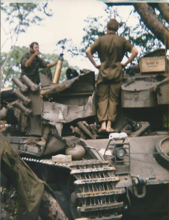 The bins on this Olifant tank got damaged by moving thru trees