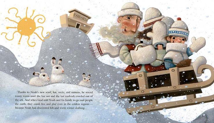 "Matthew Trueman illustration for ""Noah's Mittens""."