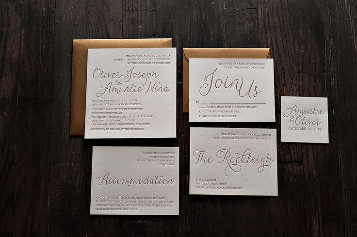Metallic Letterpress Wedding Invitations, gold letterpress wedding invitations
