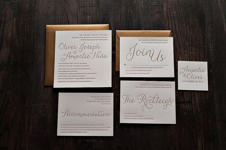 Metallic Letterpress Wedding Invitations, gold letterpress wedding invitations