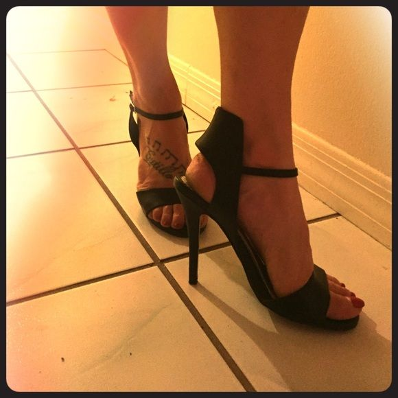 Sexy black strappy heels Super sexy black heels with black collar work. Worn only once and only inside, from DSW Mix No6 Shoes