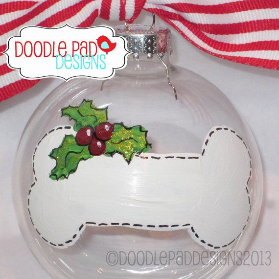 Hand painted Dog Bone Ornament  Personalized by doodlepaddesigns, $14.95...can't forget the pets!!!