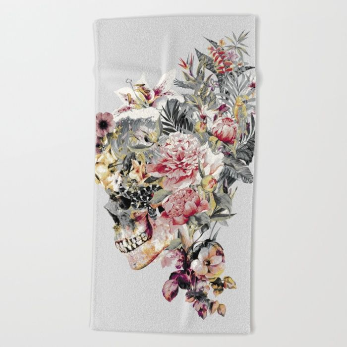 SKULL XII Beach #Towel #skull #collage #exotic #birds #art #rizapeker #home #homedecor