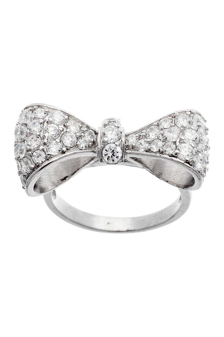 Ring Bow Il Gioiello Personalizzabile Con La Tua Nailart: Sterling Silver Pave CZ Bow Ring