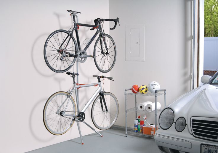 This revolutionary steel bike rack by The Art of Storage harnesses form and function. Fully adjustable, this rack can accommodate two bicycles with a combined weight up to 60 pounds. No installation is required, and rubber bumpers protect your walls.
