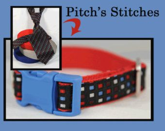 Red, White and Blue Small Dog Collar from Recycled Necktie; Fabric Left for Custom Dog Collar for Large Dog or Medium Size Dog