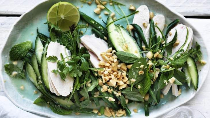 Coconut chicken salad with mint and lime.