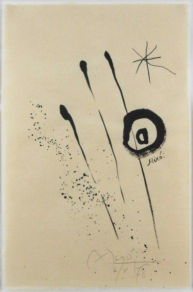 Joan Miro Ink Drawing On Handmade Paper : Lot 24                                                                                                                                                                                 More