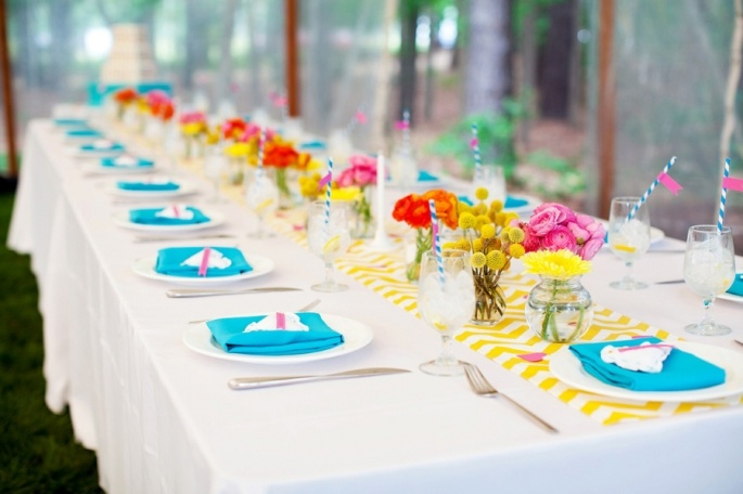 Love the brightly coloured table settings