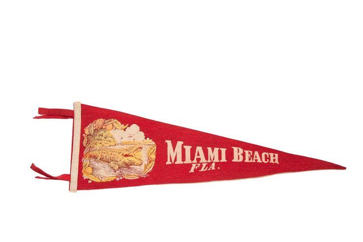 Miami Beach Florida with Alligator and Palm Trees Felt Flag