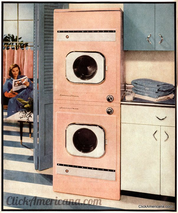 Westinghouse pink stacked washing machine and dryer (1956) #vintage #appliances