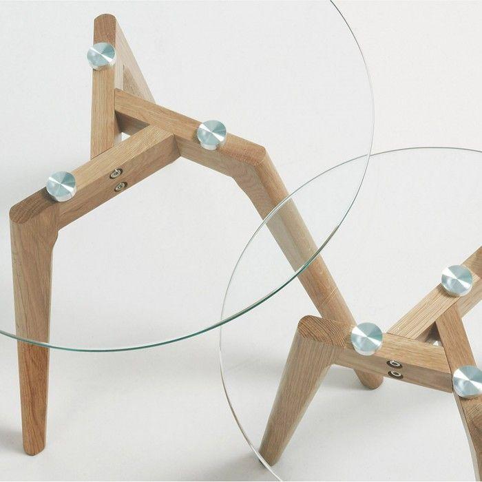 Set de 2 tables d'appoint Kirb, verre rond