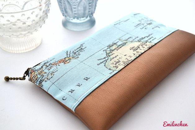 Federmäppchen - Federmäppchen, Weltkarte, Kupfer - ein Designerstück von Anja-Emilinchen bei DaWanda