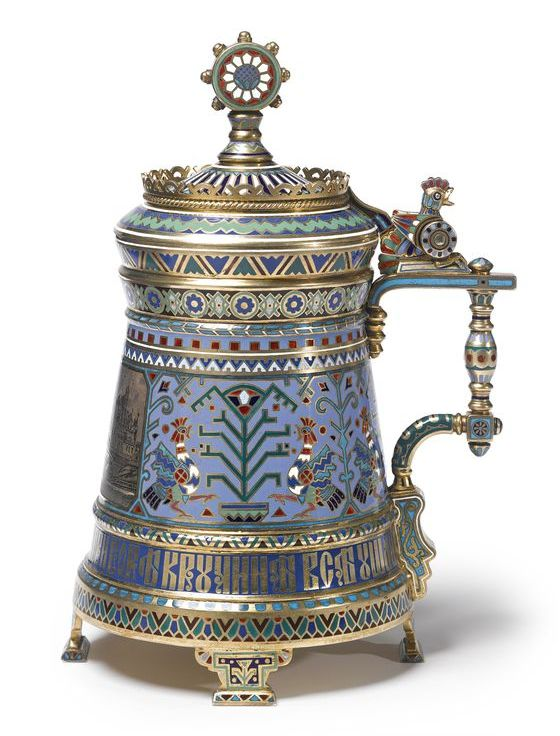 A Russian Gilded Silver, Niello and Champlevé Enamel Tankard, Ovchinnikov, Moscow, 1876 | Lot | Sotheby's