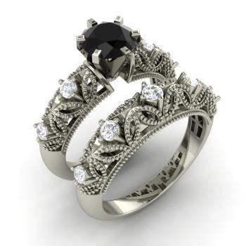 Round Black Diamond  and Diamond  Bridal Set Ring in 14k White Gold