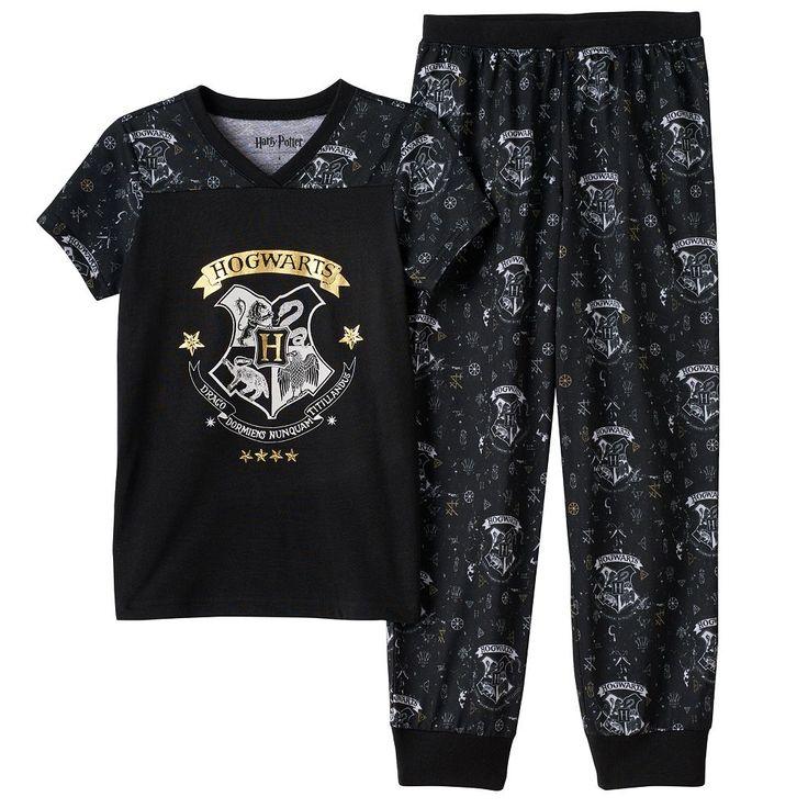 Girls 7-16 Harry Potter Hogwarts Pajama Set, Size: 8, Black