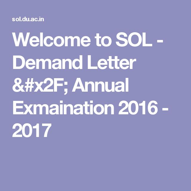 Welcome To Sol  Demand Letter  Annual Exmaination