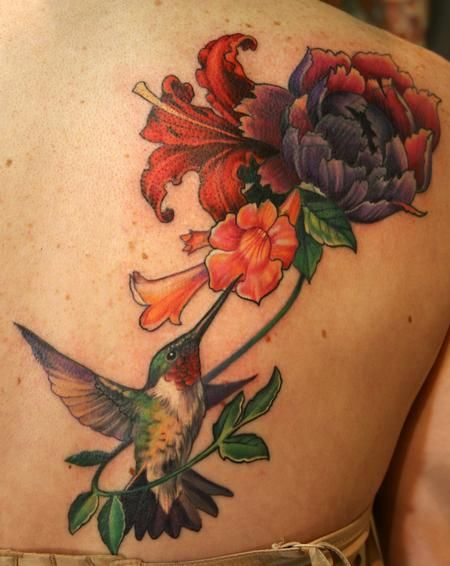 humming bird chest tattoos | ... Tattoos : Tattoos : Coverup : Humming Bird and Trumpet Vine Tattoo
