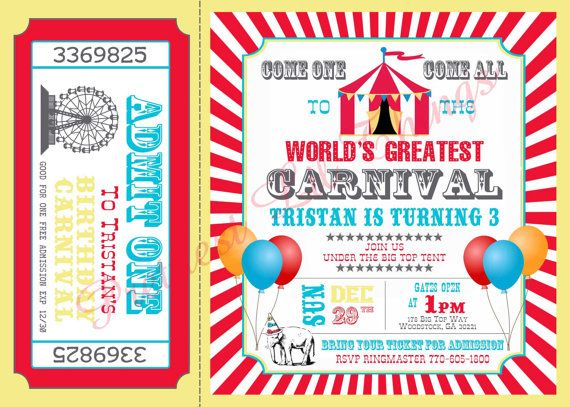 59 best Circus theme images on Pinterest Circus party, Circus - circus party invitation