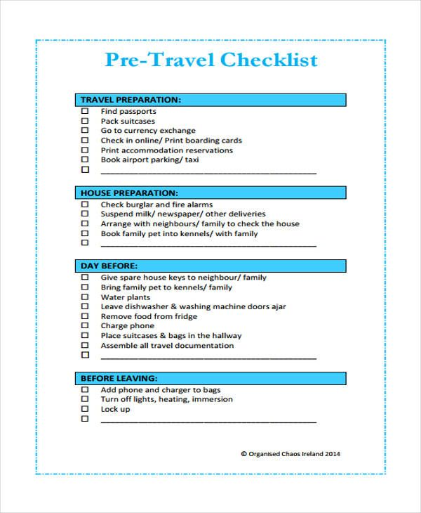 Travel Checklist Templates | 13+ Free Docs, Xlsx & PDF