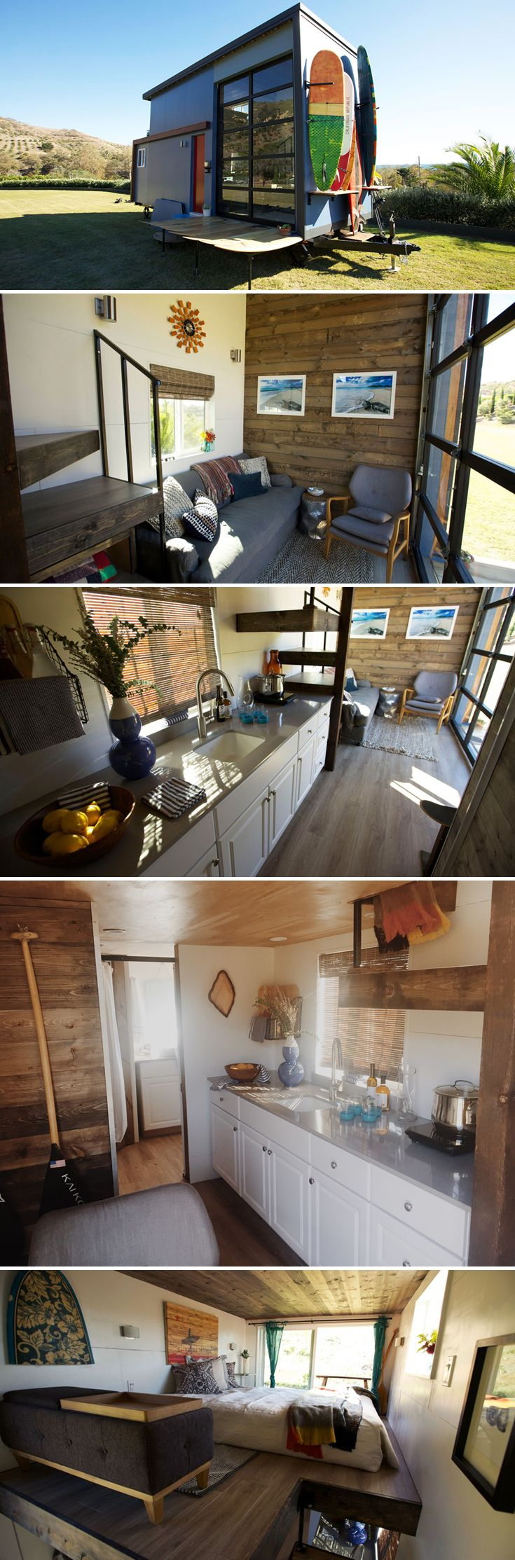 Built as a mobile surf shack for a Santa Barbara couple, the 20-foot tiny home allows them to stay close to the beach where they enjoy surfing and rowing.