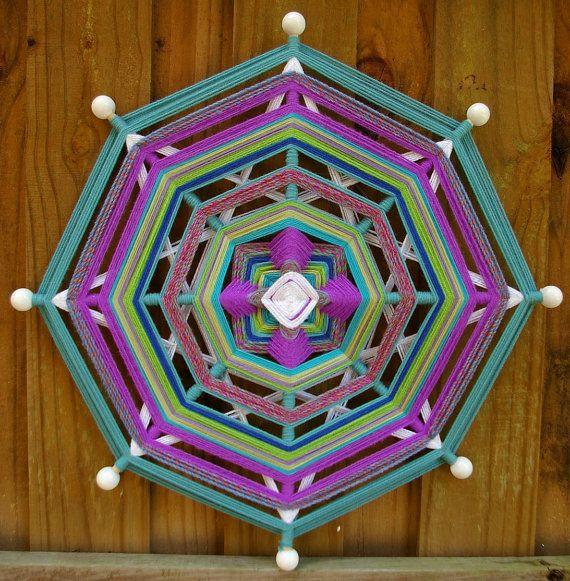 24 Mandala Woven Yarn Art Ojo de Dios Wall by MandalaMoonShop, $45.00