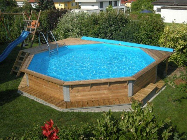 Weka Holzpool Mit Leiter Treppe Und Rollabdeckung Holzpool Pool Holz