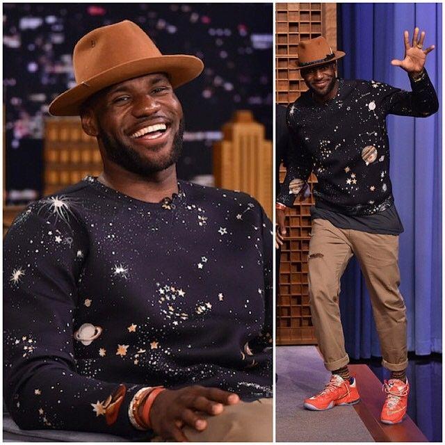 LeBron James Styles in Valentino Sweatshirt on The Tonight Show Starring  Jimmy Fallon