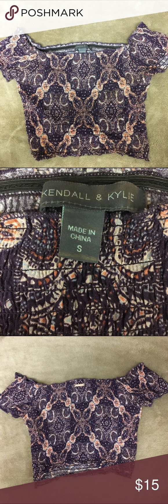 Kendall & Kylie crop top Kendall & Kylie crop top, stretchy material, purple paisley print, off the shoulder Kendall & Kylie Tops Crop Tops
