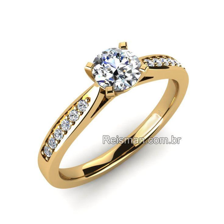 Anel de Noivado Solitario Diamante