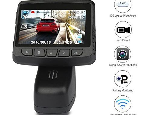 Car Recorder WOQI 1080P Full HD Car DVR Automobile Recorder 2.45 inches 170° Wide Angle Automobile Data Recorder Dashboard Camera with WiFi Function for Driving, Travelling Loop Recording (Black)   Best Dashboard Camera