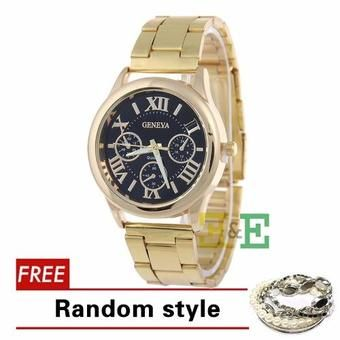 Buy Geneva SY-3 Roman Numerals Womens Gold Steel-belt Watch(Gold+Black) with Free Beatrice Bangle 5-piece Set Random style online at Lazada. Discount prices and promotional sale on all. Free Shipping.