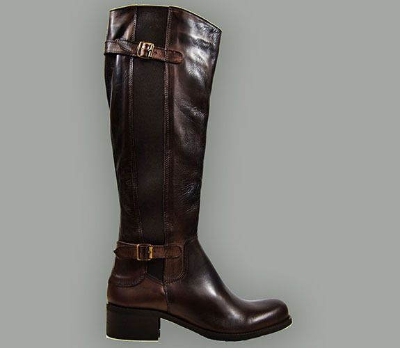 RIDING BOOT - MADE IN ITALY, LEATHER ADN STRETCH, BUCKLES AND ZIPPER, BROWN