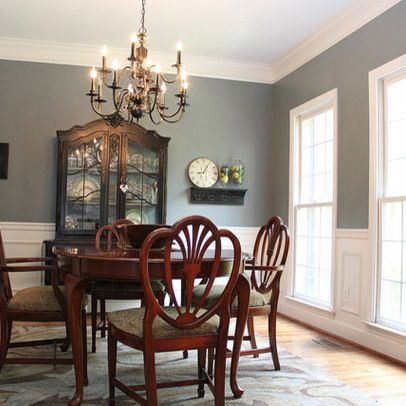 Merveilleux Smoky Blue Dining Room With Brown And Black Accents   Eclectic   Dining Room    Birmingham   Unskinny Boppy. Find This Pin And More On Two Tone Painting  Idea ...