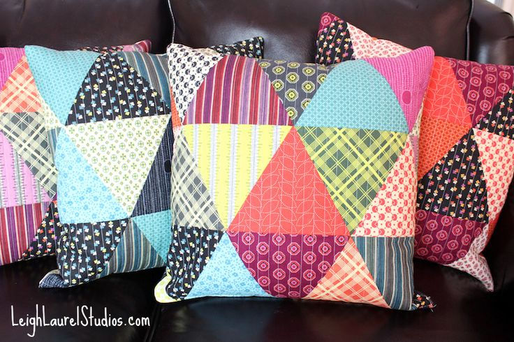 Tutorial for triangle patchwork pillows - fronts and backs are quilted - Leigh Laurel Studios