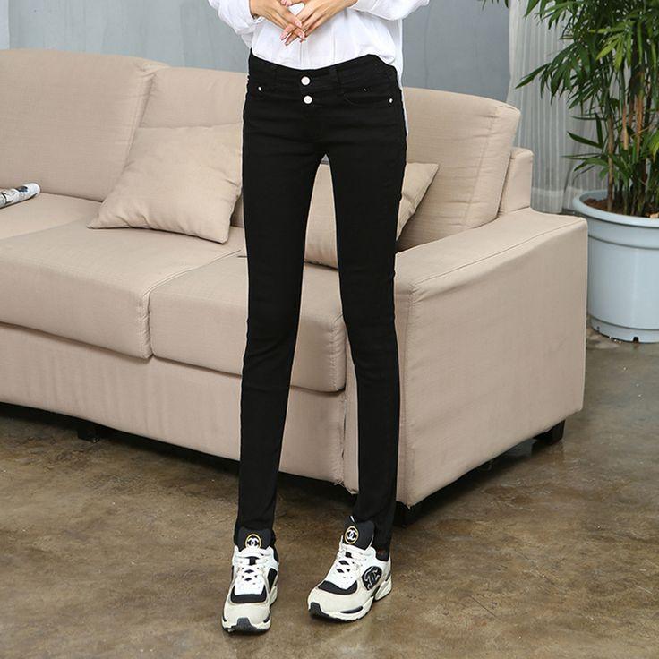 2015 Женская мода осень Середине талии джинсы Женщин Стрейч Плотный Узкие Джинсы Черные Брюки женщин
