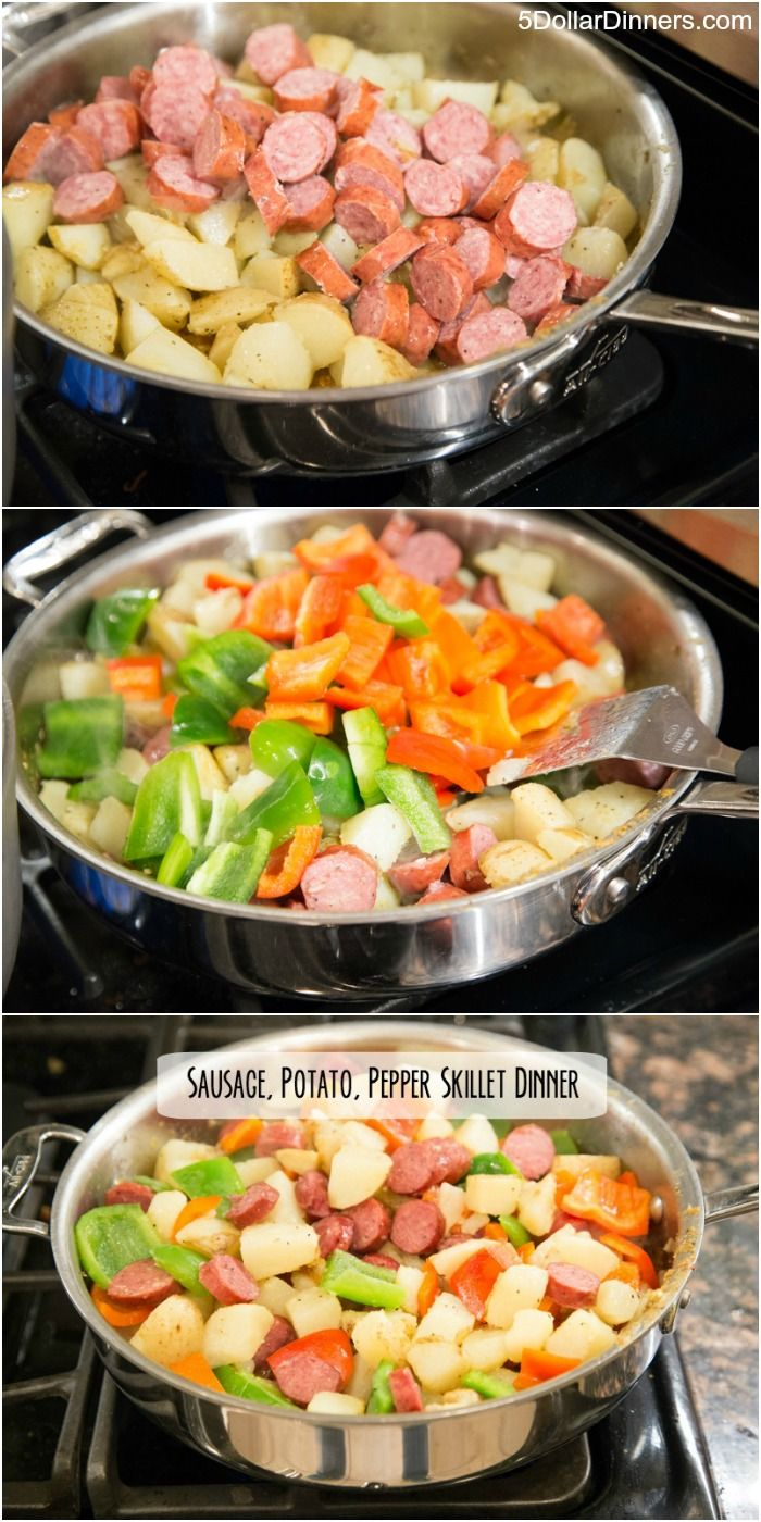 Sausage, Potato & Pepper Skillet Dinner ~ New 31 Days of Skillet Dinners Recipe! | 5DollarDinners.com