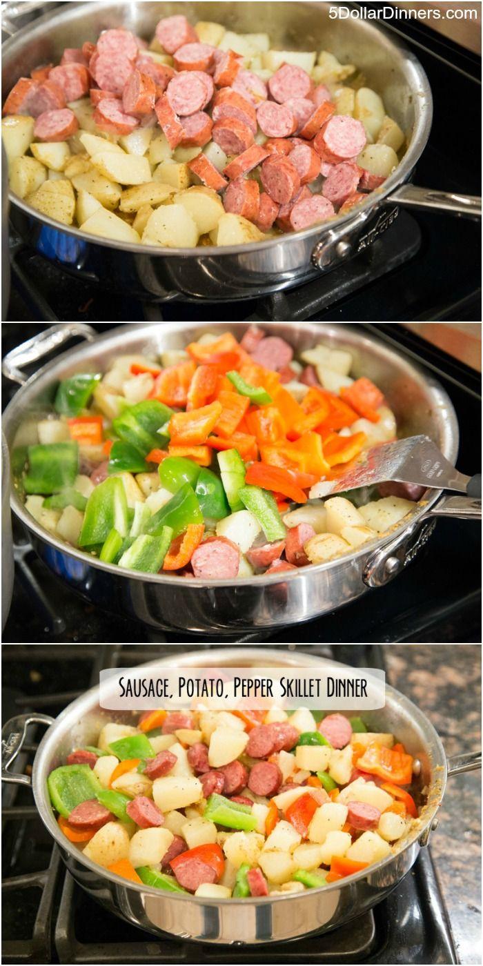 Sausage, Potato & Pepper Skillet Dinner ~ New 31 Days of Skillet Dinners Recipe!   5DollarDinners.com