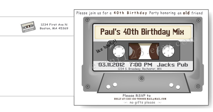 Cassette Tape Invitation by event123 on Etsy, $1.45  - This would be great with a CD, mixed set of MUSIC for INVITE, or DVD of past OSCAR winner....fun idea.