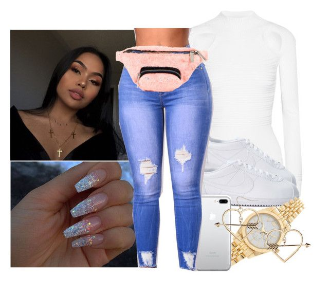 """""""Cortez"""" by eazybreezy305 on Polyvore featuring Cushnie Et Ochs, NIKE, Forever 21, Skinnydip, Topshop, StreetStyle, cute, nike, fur and 2017"""