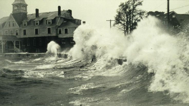 Waves crash onto shore at Woods Hole, Massachusetts during a hurricane in 1938. .............Worst Hurricanes in All 50 States Since 1900 - weather.com