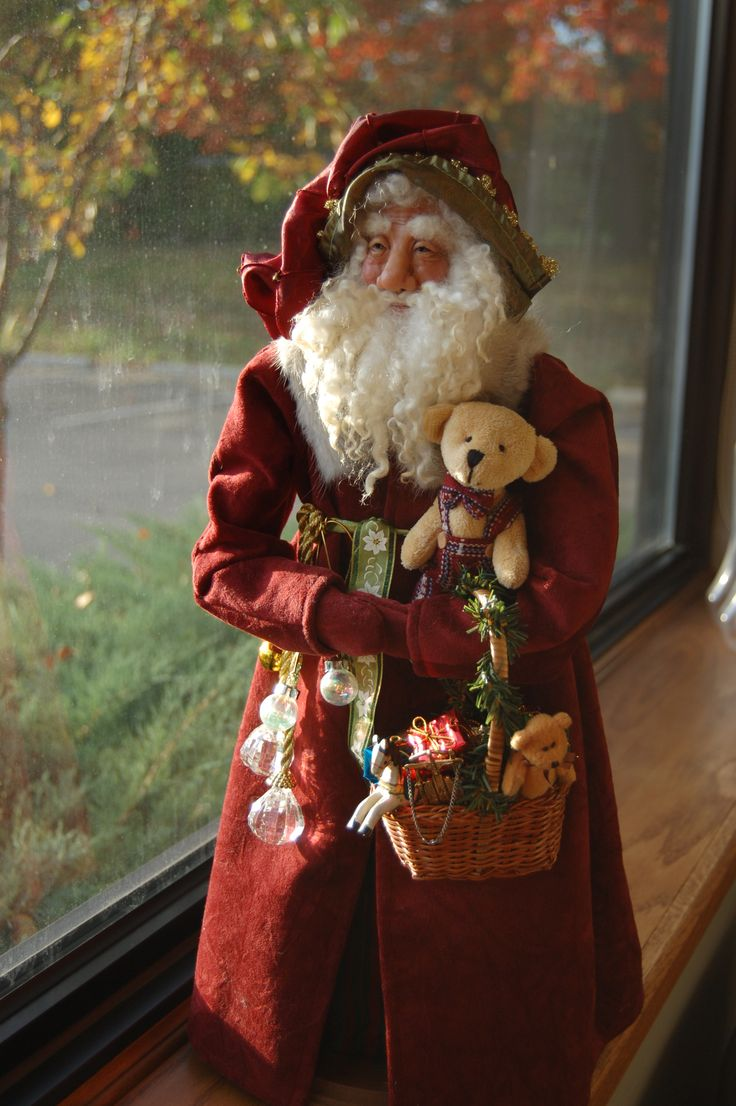 OOAK Victorian Santa with hand sculpted Premo Sculpey face.  2011- sold