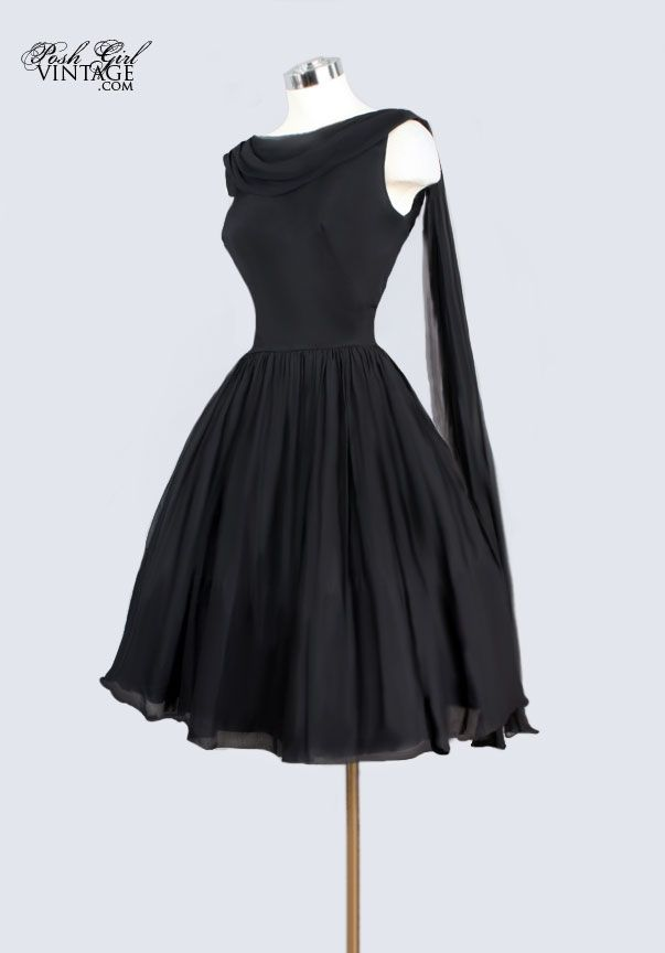 1960's Black Silk Chiffon Evening Cocktail Dress w/ Falls - M