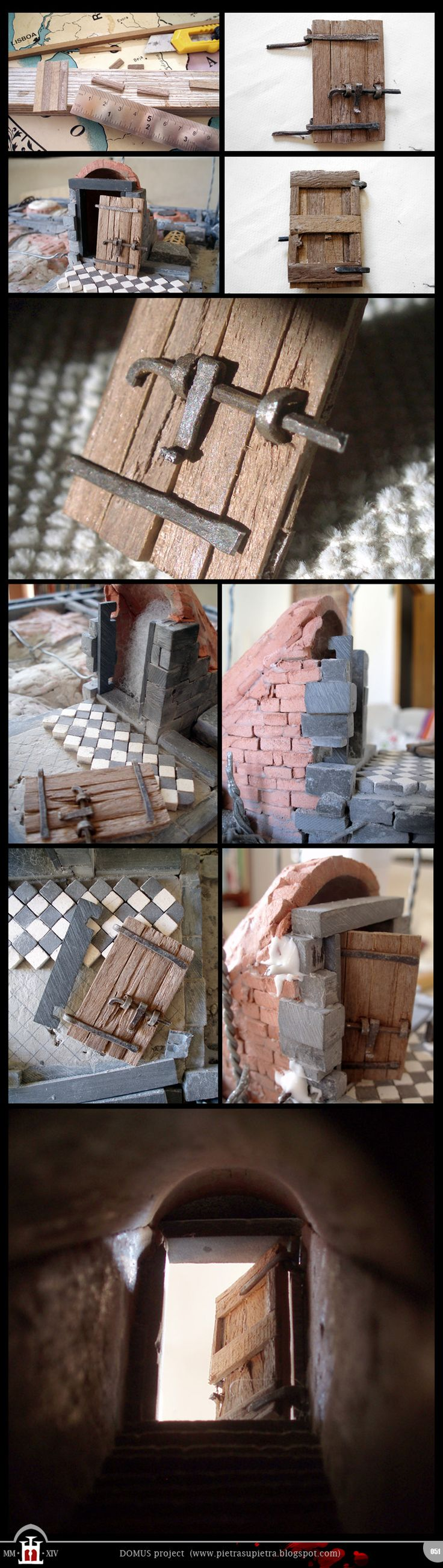 Domus project 51: Cellar door   -  http://pietrasupietra.blogspot.com/2015/02/construction-51-cellar-door.html  -  The Domus project is the construction in scale 1:50 of an imaginary medieval palace. It's made of clay, stones, slate, wood and other construction materials in the style of rich genoese buildings from the middle of XIV century.