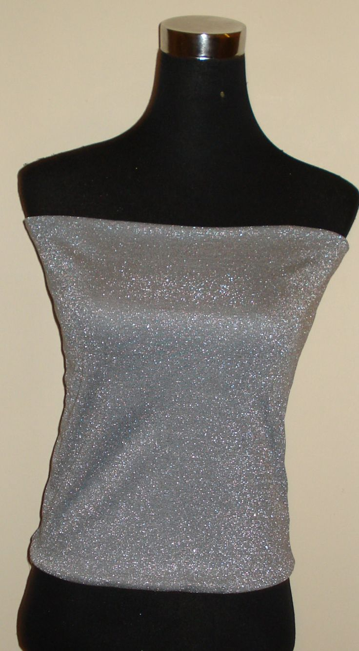 Slinky Glitter Grey Bandeau Top Tube Top Boob Tube by stitchawayrose on Etsy