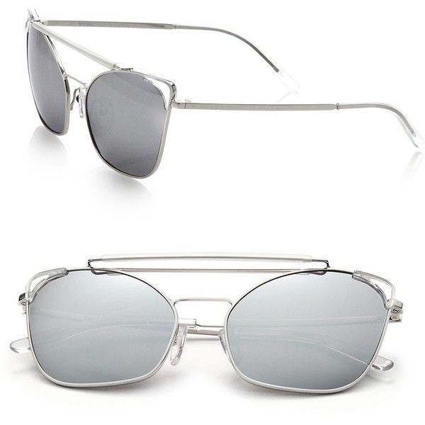 Grey Ant Chat 46MM Cat's-Eye Sunglasses (272,220 KRW) ❤ liked on Polyvore featuring accessories, eyewear, sunglasses, apparel & accessories, silver, aviator sunglasses, grey ant glasses, grey ant sunglasses, uv protection glasses and cat eye sunglasses