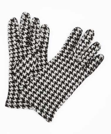 Black & White Houndstooth Gloves #zulily #zulilyfinds  Chic gloves with a black pea coat perfect!