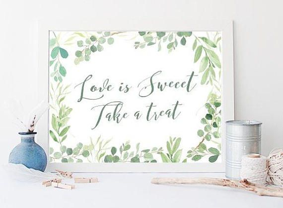Love Is Sweet Take A Treat, Love Is Sweet Sign,  Wedding Decor, Printable Wedding Signs, Instant Download